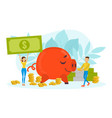 tiny people and huge piggy bank finance vector image