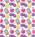 videogame cartoons pattern background vector image