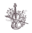 Vintage fiddle Hand-drawn retro the violin and