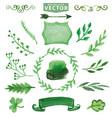 watercolor green decor branches floral set vector image vector image