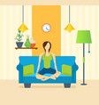 yoga interior of room furniture for relaxing vector image vector image