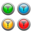 Funnel icon with drops set on glass buttons vector image