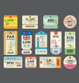 baggage retro tags traveling old tickets flight vector image