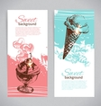 Banner set of vintage hand drawn sweet background vector image vector image