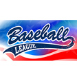 baseball script on an american flag background vector image vector image