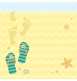 Beach thongs and footprints on sand vector image