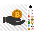 bitcoin donation hand icon with bonus vector image vector image
