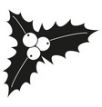 black and white holly berries silhouette vector image