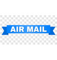 blue ribbon with air mail title vector image