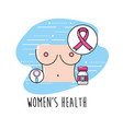breast cancer with medical treatment to care the vector image vector image