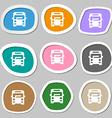 Bus icon symbols Multicolored paper stickers vector image