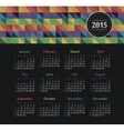 Calendar 2015 year with colored triangles vector image vector image