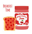 cherry jam in glass jar toast with jelly vector image vector image
