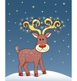 Christmas card with happy reindeer vector image