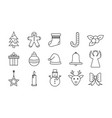 christmas gifts in line style icons presents vector image