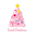 christmas tree made sweets and candies vector image