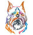 colorful decorative portrait of dog brussels vector image vector image