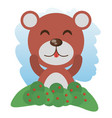 cute bear animal winking vector image