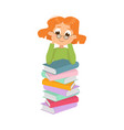 cute intelligent girl in glasses sitting on pile vector image vector image