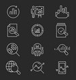 data analysis icon set on black background vector image vector image