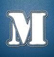 Denim jeans letter M vector image vector image
