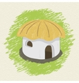 Drawing african hut on background vector image
