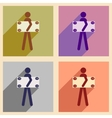 Flat with shadow concept icon People and dollar vector image vector image