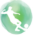 Footballer silhouette on watercolor background vector image vector image