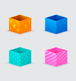 four gift boxes of orange blue turquoise pink vector image vector image