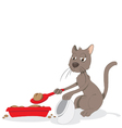 funny cat cleaning up his litter box vector image vector image
