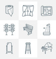 furniture icons line style set with house plan vector image