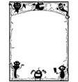 halloween frame with cute monster silhouettes vector image