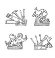 hand drawn woodwork tools set vector image vector image