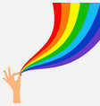 hand hold wave rainbow flag lgbt banner vector image