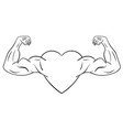 heart with muscular arms vector image vector image