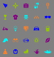 Hipster icons fluorescent color on gray background vector image vector image