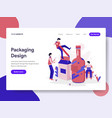 landing page template of packaging design vector image vector image
