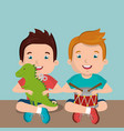 little boys playing with toys characters vector image