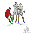 male soccer player shooting against the wall vector image vector image