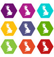 map of great britain icon set color hexahedron vector image vector image
