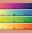 milan multiple color gradient skyline banner vector image