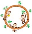 Monkey And Banana On Circle Frame vector image vector image