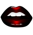 red lips isolated on black background vector image vector image