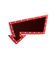 retro red frame in form arrow with shining vector image