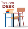 school desk chair classic empty wooden vector image