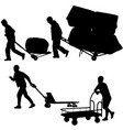 set black silhouette hard worker pushing vector image