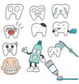 set of teeth vector image vector image