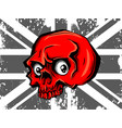 skull and flag red flat icon vector image vector image