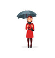 smiling girl in red dress standing under umbrella vector image