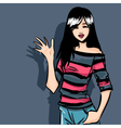 Smiling teenager fashionable girl brunette vector image